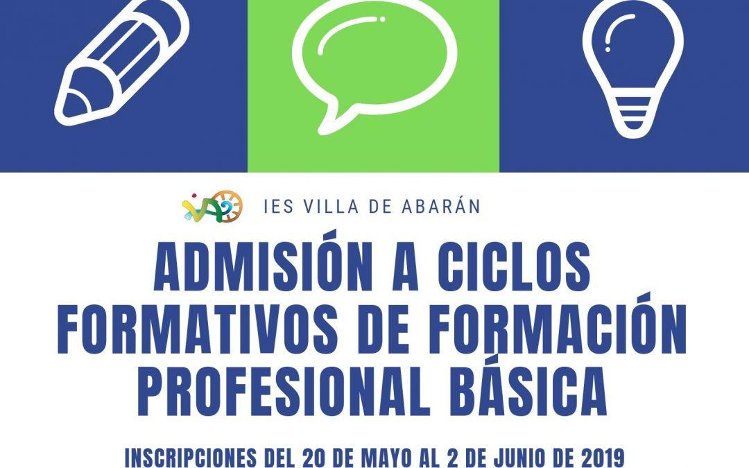 Admisión para FP Básica (curso 2019/20)