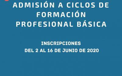 Abierto plazo de admisión para Formación Profesional Básica.