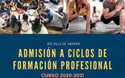 Admisión a ciclos de Formación Profesional para el curso 2020/21