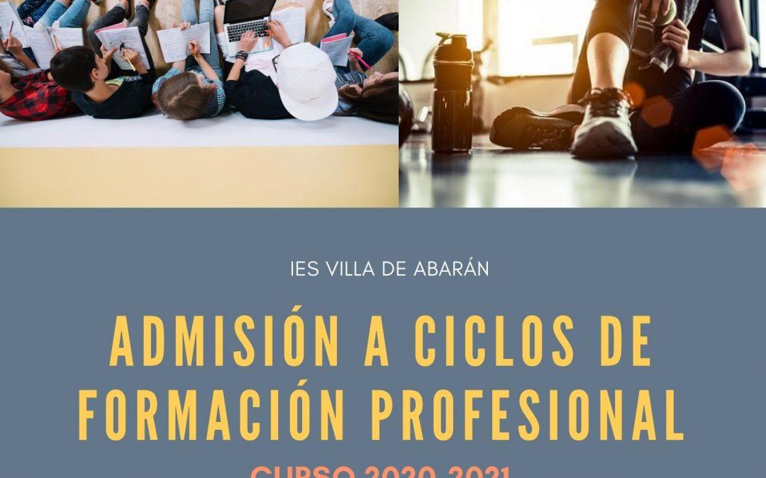 Nuevo plazo de admisión a ciclos de Formación Profesional. Curso 2020/21.