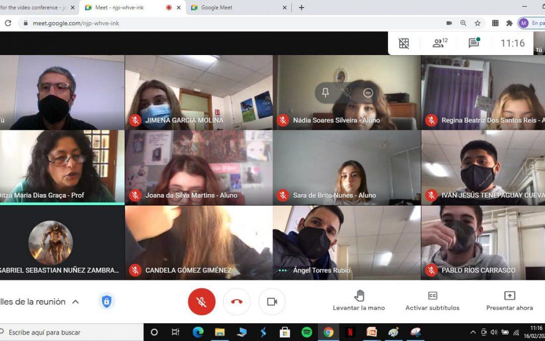 """Videconferencia entre alumnos españoles y portugueses participantes en el Erasmus+ """"HHWW"""""""