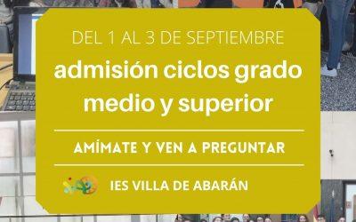Turno de Resultas-Septiembre. Admisión a Ciclos Formación Profesional Grado Medio y Grado Superior para el curso 2021/2022